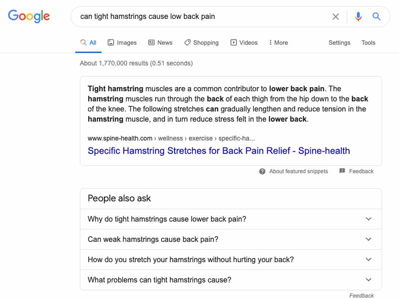 google result can hamstrings cause low back pain